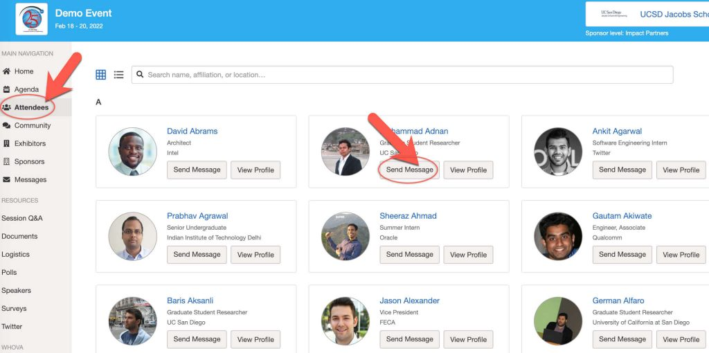 Whova Web App - See who is attending the event