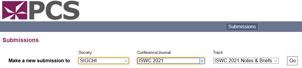 Submission via the PCS website, select SIGCHI society, ISWC 2021 conference, ISWC 2021 Notes and Bries track